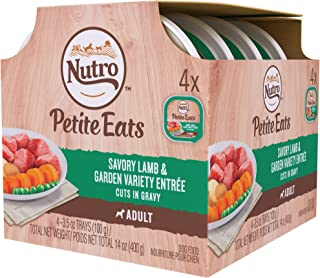 Nutro Petite Eats Multipack Savory Lamb & Garden Variety Entree Cuts In Gravy Dog Food Trays, 3.5 oz., Case of 4