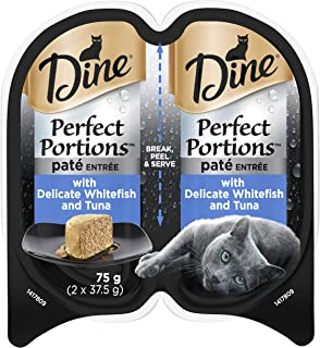 DINE Perfect Portions Wet Cat Food Paté Whitefish 75g, Adult, 24 Pack, One Size