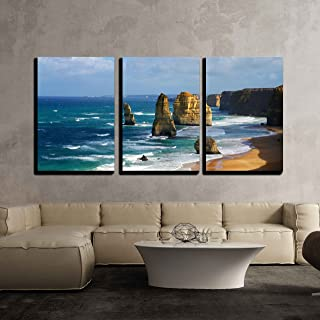 wall26 - 3 Piece Canvas Wall Art - Dramatic Beautiful 12 Apostles in Australia - Modern Home Decor Stretched and Framed Ready to Hang - 24