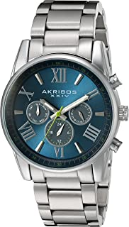 Akribos XXIV AK912 Men's Swiss Quartz Multi-Function Accented Sunray Dial with Stainless Steel Bracelet Watch