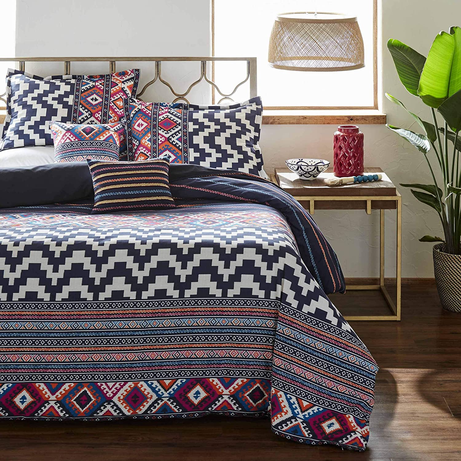 Azalea Skye Kilim Stripe Comforter Set, King, Navy