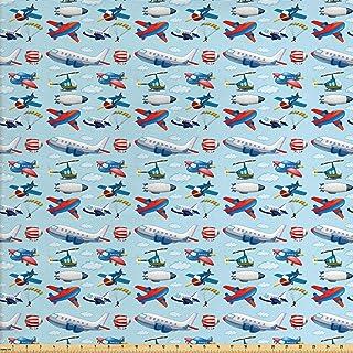 قماش طائرة Ambesonne باليارد، أنواع مختلفة من الرسوم المتحركة الطائرات العائمة في السماء الزرقاء مع الأشخاص الذين يجلسون ف...