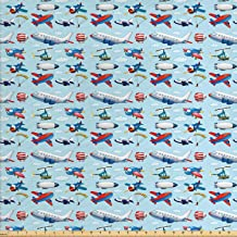 Ambesonne Airplane Fabric by The Yard, Different Types of Cartoon Aircraft Floating in Blue Sky with Sky Diving People, Decorative Fabric for Upholstery and Home Accents, 1 Yard, Blue Red