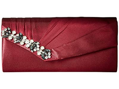 Jessica McClintock Sage East/West Satin Clutch (Wine) Clutch Handbags