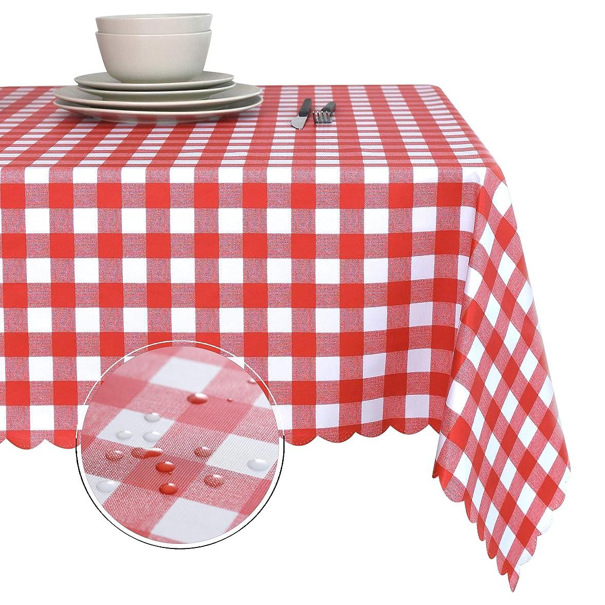 前売締める実際のObstal 長方形テーブルクロス 耐油性 こぼれ防止 防水 マイクロファイバーテーブルクロス 装飾ファブリックテーブルカバー 屋外?屋内用 54 x 78 Inch obt-pvc-checkered-red5478