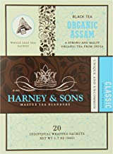 Harney & Sons Black Tea, Organic Assam, 1.7 oz, 20 Sachets (Pack of 6)