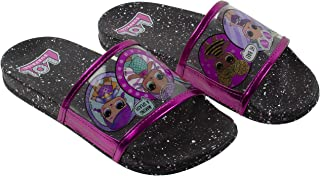 L.O.L Surprise! Girl's Sandal, Mix Match Baby Cat Merbaby Super BB Crystal Queen Cosmic Queen and Queen Bee Slide Sandal, Black Pink, Girls Size 10 to 1, Ages 4 to 10