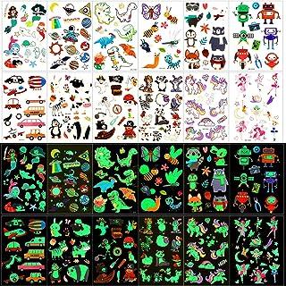12 ark tatuering, glitter tillfälliga tatueringar, tatueringar, barn, tecknade djur enhörning pirater dinosaurie tatuering...