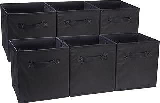 AmazonBasics - Cubos de almacenamiento plegables (pack de 6), Negro
