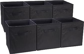 AmazonBasics - Cubos de almacenamiento plegables (paquete de 6), Negro