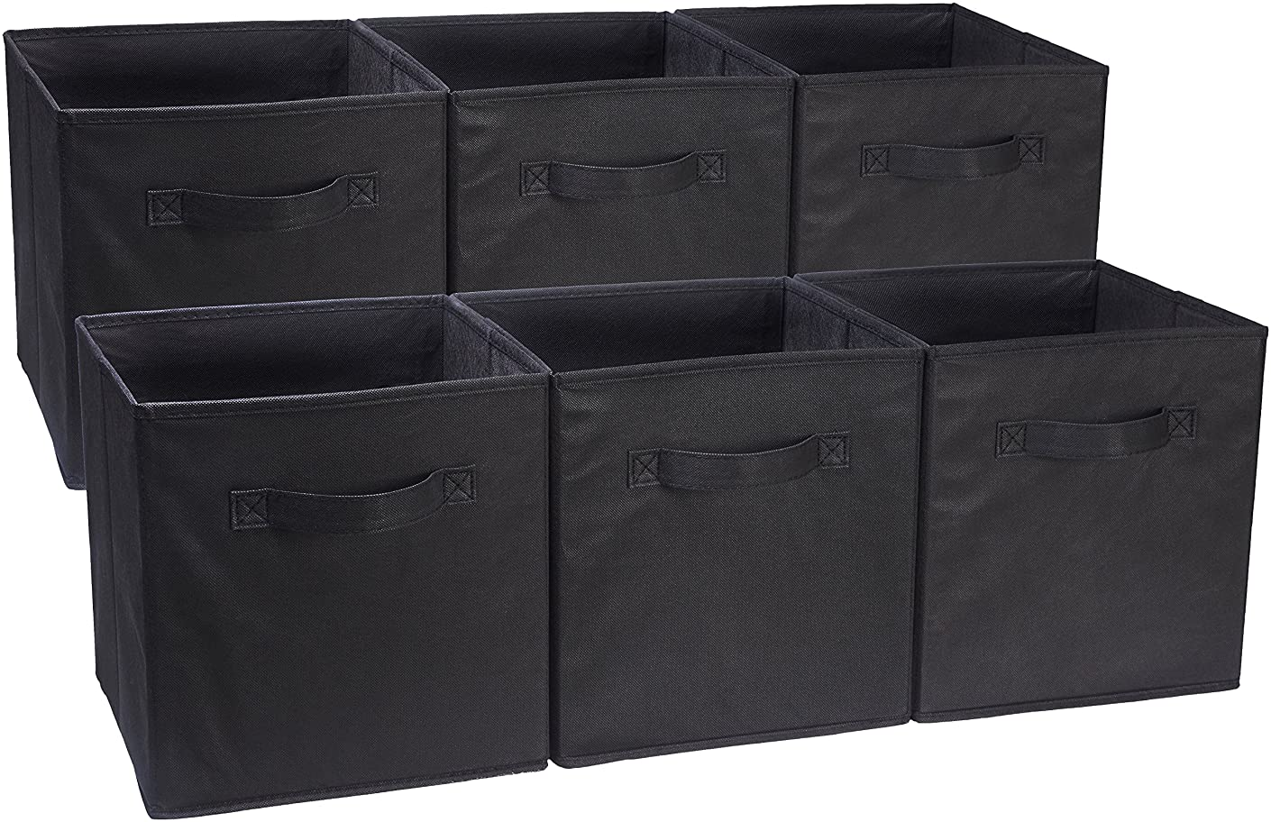 AmazonBasics Foldable Storage Bins Cubes Organizer, 6-Pack, Black