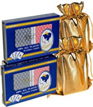 Queen Deluxe Plastic Playing Cards w/Jumbo Numbers || Poker Width || 2 Double Decks (4 Total Decks) || Bonus 2 Gold Metallic Cloth Drawstring Storage Pouches || Bundled Items