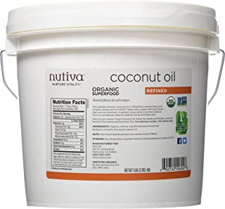 Nutiva Organic, Steam Refined Coconut Oil from non-GMO, Sustainably Farmed Coconuts, 1 Gallon