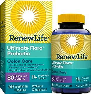 Renew Life Adult Probiotic - Ultimate Flora Colon Care Probiotic Supplement - Gluten, Dairy & Soy Free - 80 Billion CFU - 60 Vegetarian Capsules