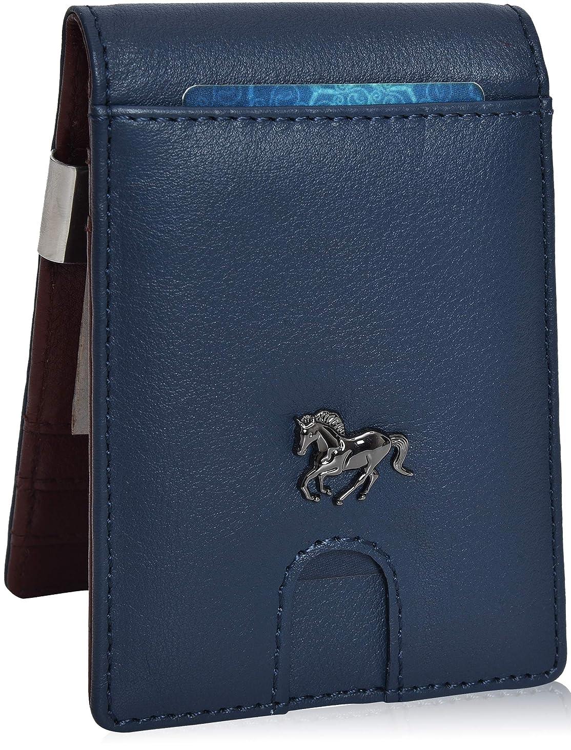 Estalon Metal Money Clip Wallets – Bifold Wallets RFID Protection Slim Design Front Pocket Leather Wallets