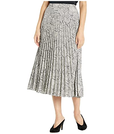 1.STATE Micro Pleated Snake Print Midi Skirt (Feather Grey) Women