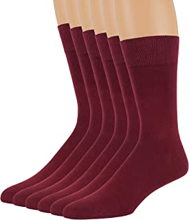 7BigStars Men's Cotton 6 Pack Dress Casual Work Crew Business 4 Seasons Socks Solid Shoe:6-12 (Sock Size:10-13)