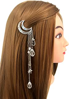 QTMY Moon Rhinestone Tassel with Crystal Beads Charms Hair Clip Pin Hair Chain Jewelry Hair Accessories (Silver)