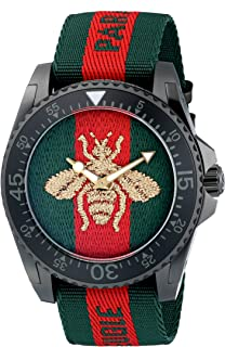 Gucci Quartz Stainless Steel and Nylon Casual Two-Tone Men's Watch(Model: YA136216)