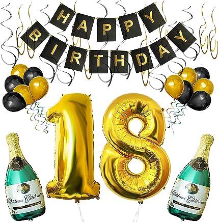 BELLE VOUS Set 18esimo Compleanno Decorazioni Palloncini Striscione Include Bottiglie Champagne Gonfiabili, Numero 18 Oro 101.6cm e Palloncini- Kit Decorazione Forniture Festa