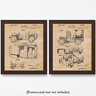 Original Willy Jeep Patent Poster Prints, Set of 2 (11x14) Unframed Photos, Wall Art Decor Gifts Under 20 for Home, Office, Garage, Shop, Man Cave, College Student, Teacher, USA 4x4 Mudding Fan