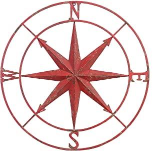 "Creative Co-op Decorative Round Metal Compass Wall Décor, 41"", Red"