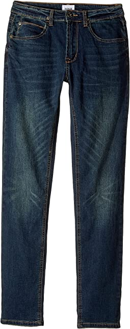 Jagger Fit Slim Straight Fit French Terry in Medium Indigo (Big Kids)
