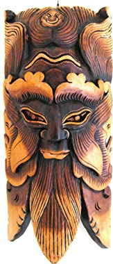 African Mask Wall Hanging Decor Wise Man Good Luck Protection Wall Hanging Home Decor Forest Spirit Heavy Wood Hand Crafted X
