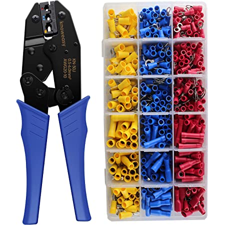 Wire Terminals Crimper Kit, Knoweasy Wire Crimping Tool of AWG22-10 and Electrical Connectors Kit with 700PCS Wire Terminals Connectors