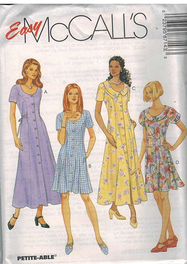 8714 McCalls Sewing Pattern Uncut Misses Semi Fitting Dress Size 14 16 18