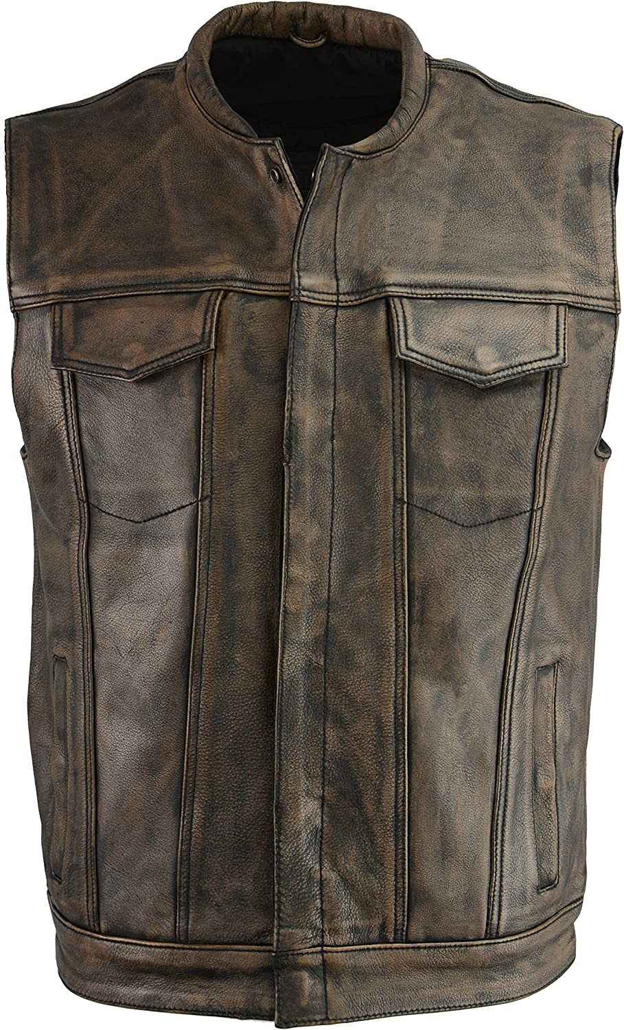M Boss Motorcycle Apparel BOS13502 Men's Leather Distressed Brown Snap Front Vest - Medium