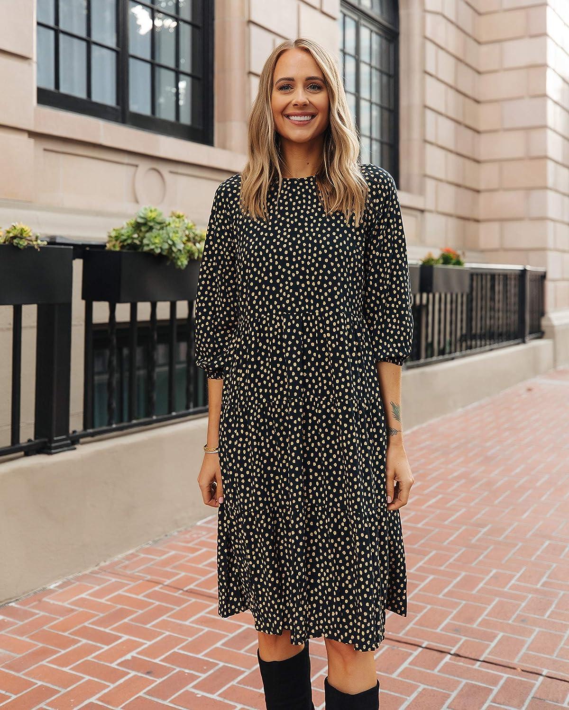 The Drop Women's Black Tan Polka-dot Sleeve Dres Midi 3 Max 40% OFF 4 Tiered Max 42% OFF