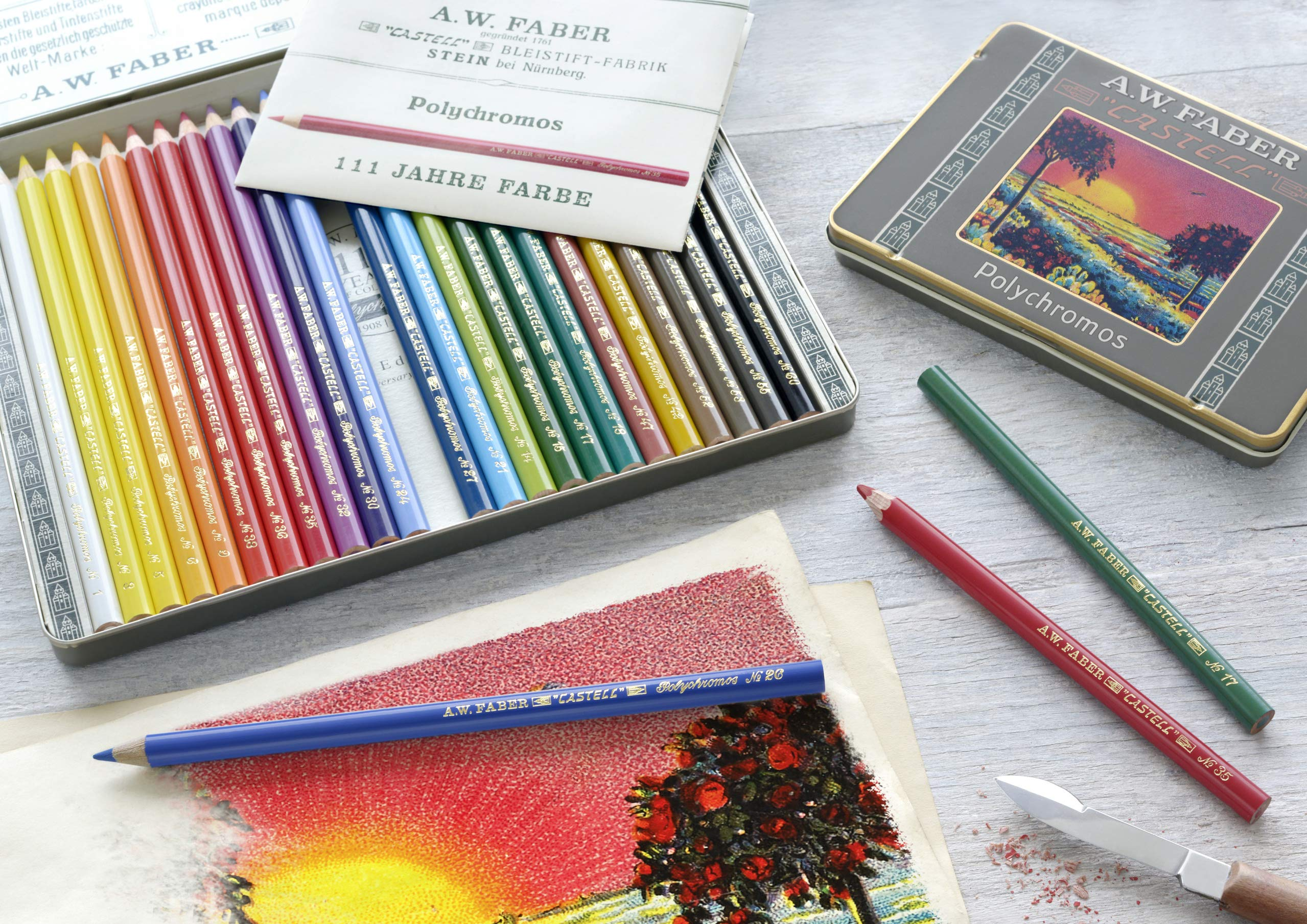 Faber-Castell 211003 - Estuche de metal con 36 lápices de colores Polychromos para artistas edición retro 111 aniversario.: Amazon.es: Oficina y papelería