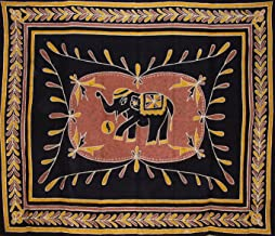 India Arts Lucky Batik Elephant Tapestry Cotton Bedspread 104 x 88 Full Brown