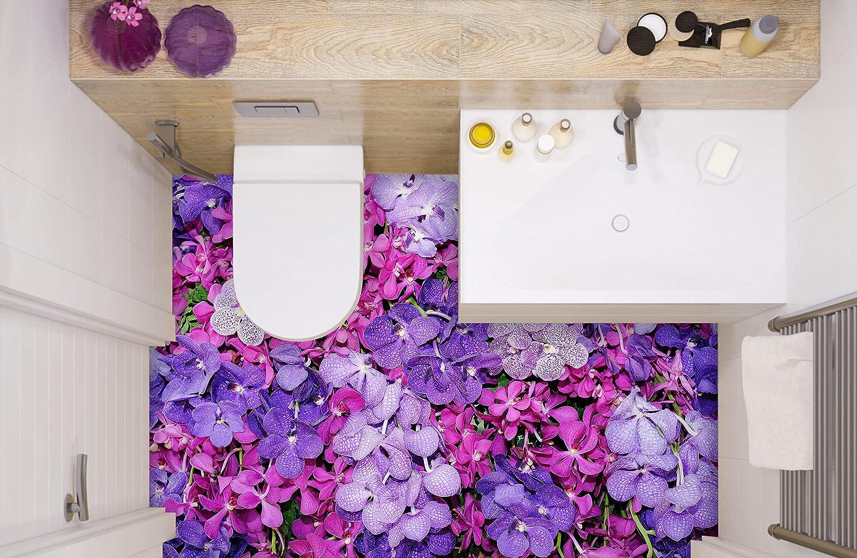3D Purple Flowers 8571 Floor Wallpaper Los Angeles Mall Wall Murals Decal A depot Print