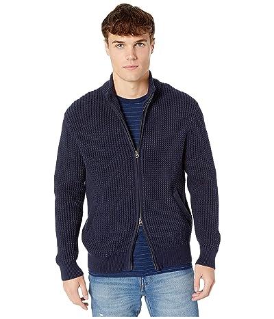 J.Crew Zip-Up Mockneck Sweater in Waffle Cotton (Navy) Men