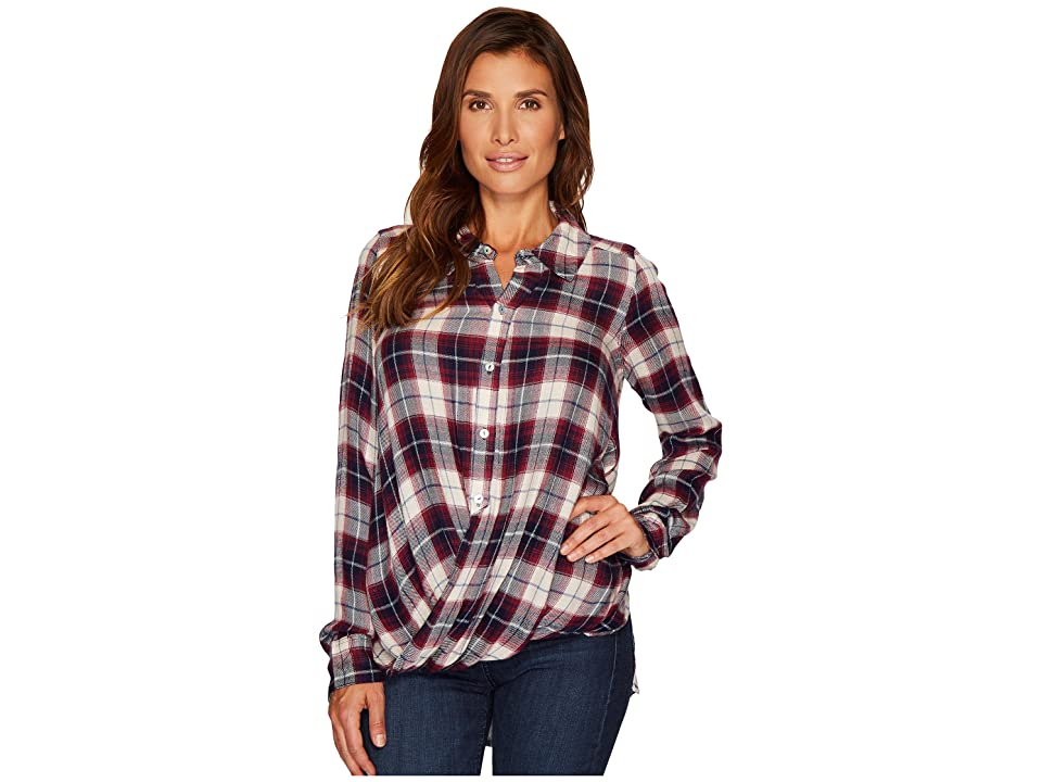 Mod-o-doc Rayon Long Sleeve Twist Hem Shirt (Navy) Women