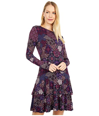 MICHAEL Michael Kors Petite Mega Patchwork Medallion Flounce Dress (Azalea) Women