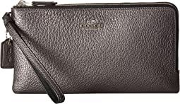 COACH - Double Zip Wallet in Metallic Leather