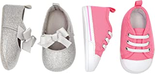 Baby Girls' 2 Pack Crib Shoe Set: Soft Sole Mary Jane & Sneaker