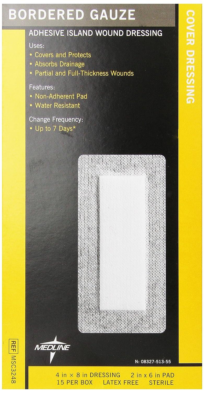Medline Max 89% OFF - MSC3248Z Gauze Border Pad Sterile x 4 Inch 8 Sale price 2 I