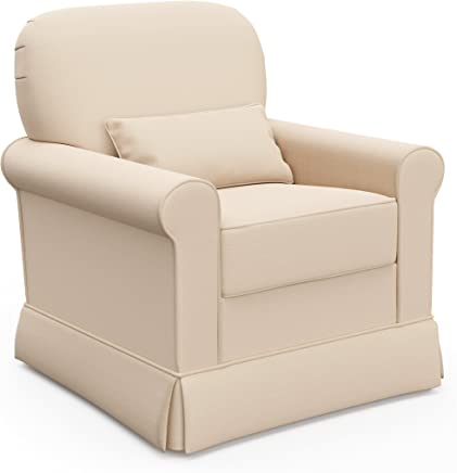 Storkcraft Avalon Upholstered Swivel Glider,  Desert Sand,  Cleanable Upholstered Comfort Rocking Nursery Swivel Chair