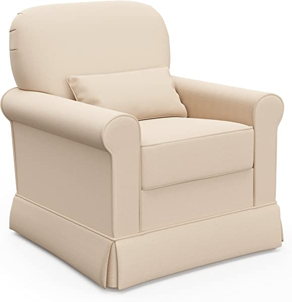 Storkcraft Avalon Upholstered Swivel Glider Desert Sand Cleanable Upholstered Comfort Rocking Nursery Swivel Chair