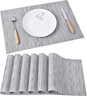 Ivalue Gray Placemats Washable Woven Vinyl PVC Placemats for Dining Table Set of 6 Durable Non Slip Plastic Table Mats