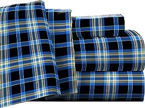 Pointehaven Flannel Deep Pocket Set with Oversized Flat Sheet, King, Ashby Plaid