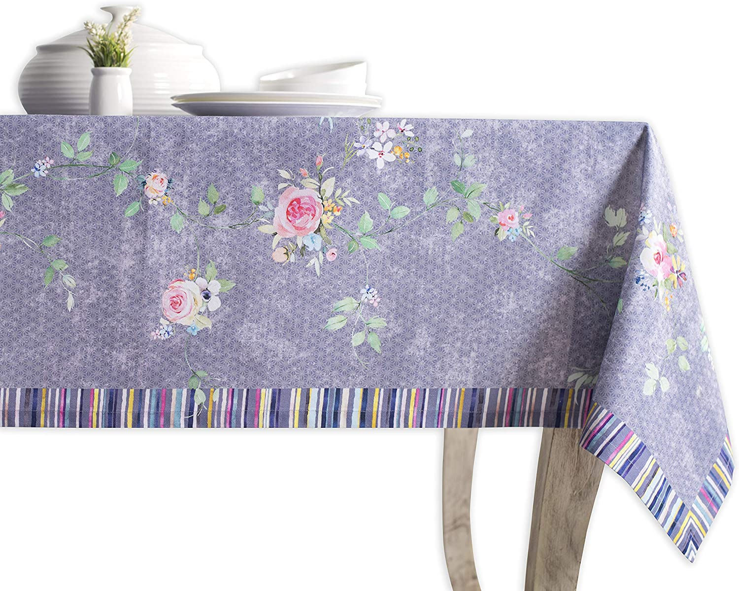 Maison d' Hermine Sweet pink Lavender 100% Cotton Country Garden Tablecloth 60 Inch by 108 Inch