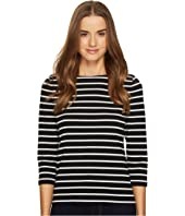 Kate Spade New York - Broome Street 3/4 Sleeve Stripe Essential Tee