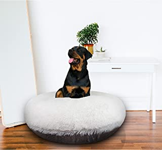 product image for BESSIE AND BARNIE Signature Snow White/Serenity Grey Luxury Extra Plush Faux Fur Bagel Pet/Dog Bed