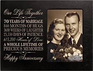 LifeSong Milestones 70th for Her Him 70 Year Wedding for Couple Parents Celebration Gift Picture Frame Holds 1 4x6 Photo 8