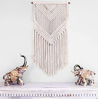 Boho Macrame woven Wall Hanging Beige 16 in x 36 in Modern Bohemian Tapestry wall Art Decor for House, Apartment, Dorm, Bedroom, Nursery, Party Decorations, Wedding, Wall Ornament